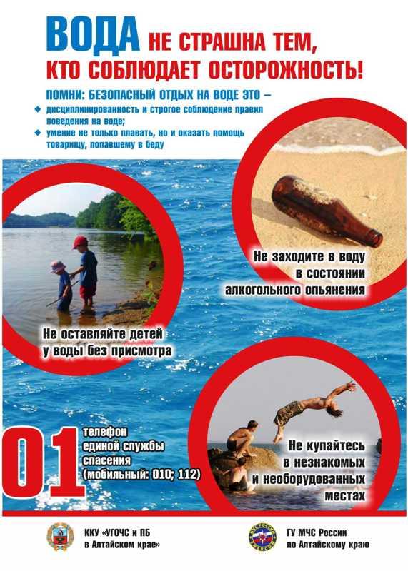 плакат: вода не страшна тем, кто соблюдает осторожность!
